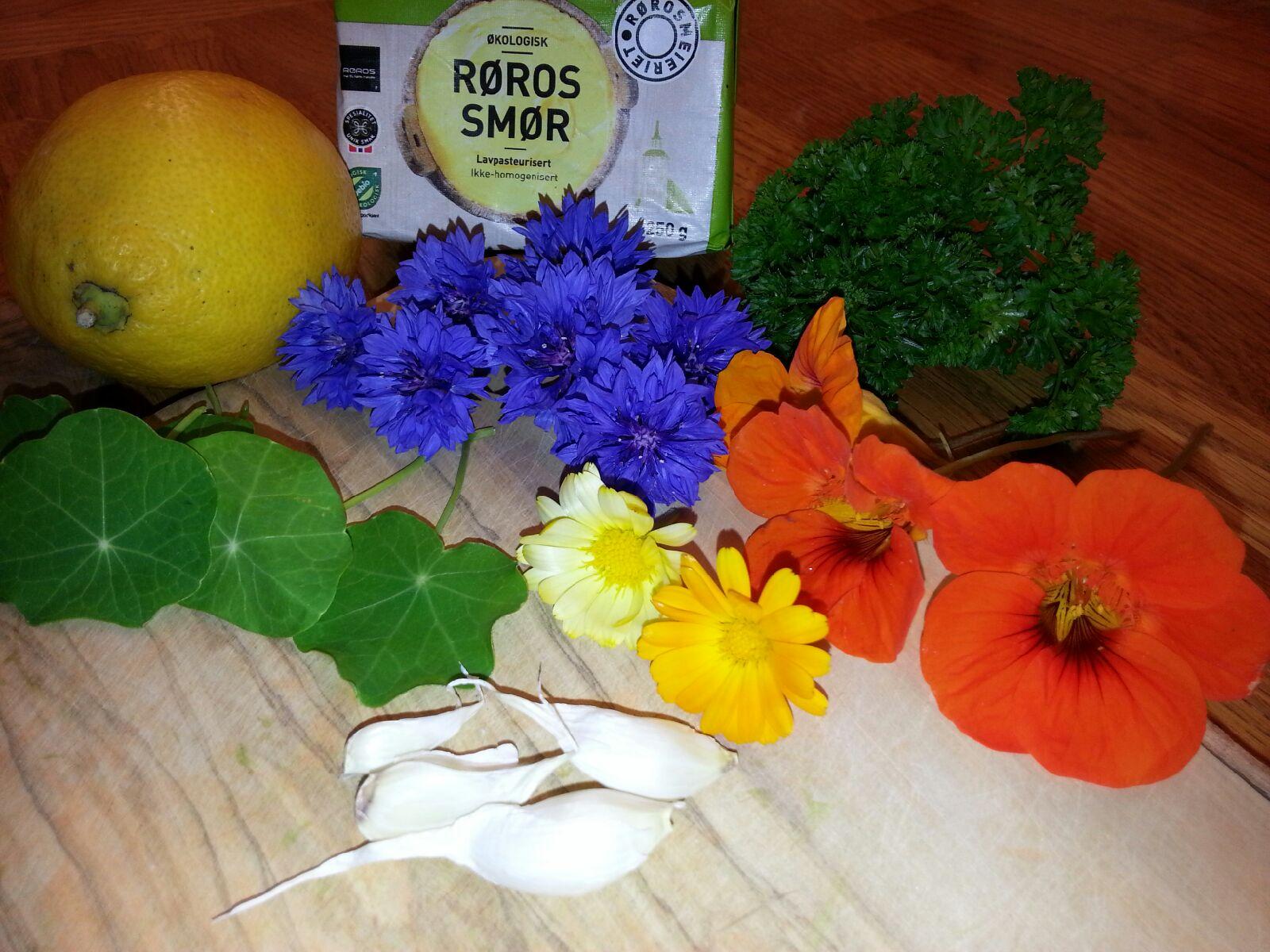 Blomstersmør til fisk eller kjøtt