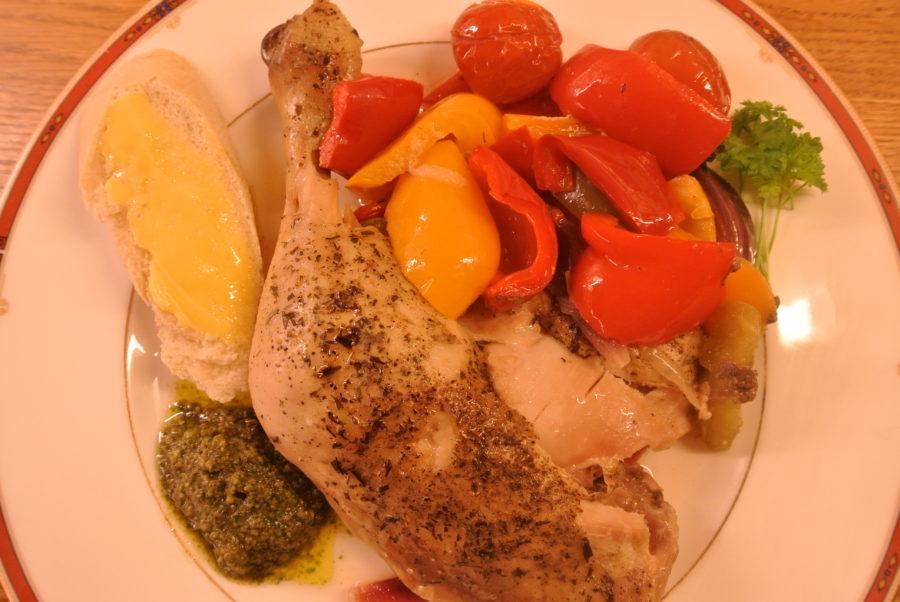 Ovnsbakte kyllinglår med grønnsaker