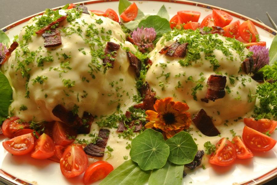 Blomkål med ostesaus og bacon