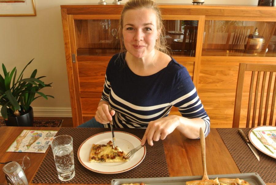 Lises hvite pizza med sopp, blåmuggost og nøtter