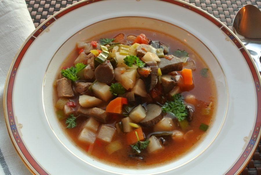Høstsuppe med lam og sopp (restemat)